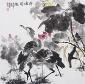 【已售】北京美协周宣荣四尺斗方花鸟画《荷塘清趣》