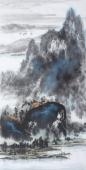 国家一级美术师杨秀亮四尺竖幅泼彩山水画