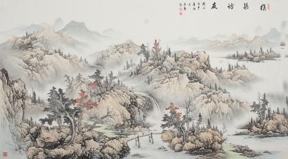 河北美协梁伟华六尺横幅浅绛山水画《携琴访友》