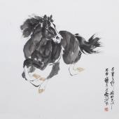 【已售】国画家王文强写意动物画作品《千里之行始于足下》