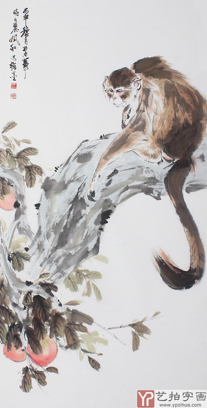 玄关挂画 王文强封侯图四尺竖幅猴子寿桃《献瑞图》