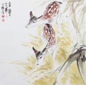 【询价】客厅挂画 王文强写意动物画柏鹿图系列作品《两只小鹿》