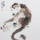 【询价】过节祝寿送礼 王文强国画动物画封侯图系列《申猴献寿》