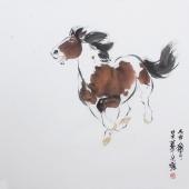 【询价】国家一级美术师王文强写意斗方动物画《骏马图》