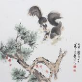 【询价】书房挂画 王文强国画动物画童趣图系列《两只松鼠》