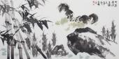 国家一级美术师王文强写意四尺动物画《竹润清风金秋爽》