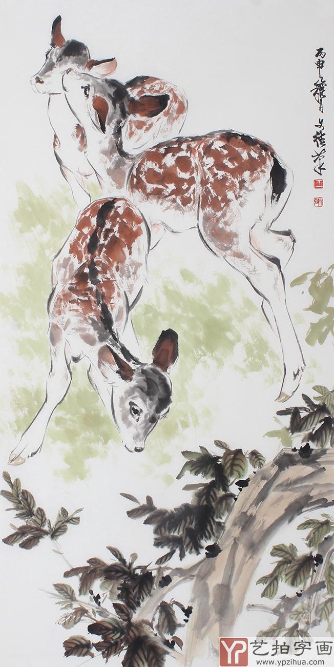 动物画  【作品简评】王文强是当代中国画家中工笔白描,重彩,小写意