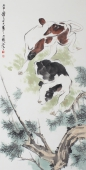 王文强四尺竖幅动物画作品《勤劳图》