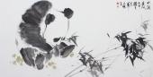 【询价】王文强四尺横幅写意动物画熊猫《竹润清风》