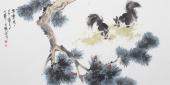 北京美协王文强四尺写意松鼠图《果实累累》
