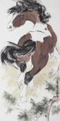 国画奔马图 王文强四尺竖幅动物画马《马到成功》