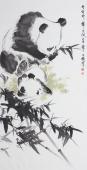 【询价】著名动物画家王文强写意动物画《幽幽修竹舞东风》