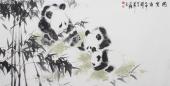 【已售】书房装饰画 王文强四尺动物画作品《国宝图》