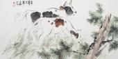 北京美协王文强四尺横幅国画牛