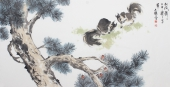 国家一级美术师王文强四尺写意动物画《松风萧萧》