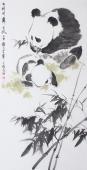 王文强四尺竖幅写意动物画《幽幽修竹舞东风》