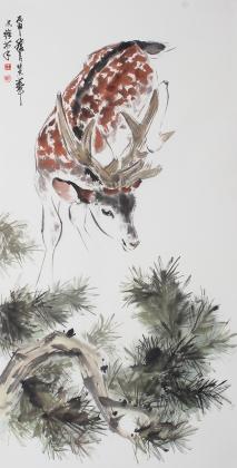 【已售】名家字画 国画家王文强动物画柏鹿图作品《柏鹿同春》