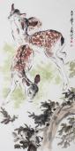 【已售】国画鹿 王文强四尺竖幅写意动物画《三只小鹿》