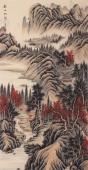 【已售】一级美术师 王立芳四尺竖幅写意山水画《秋山帆影》
