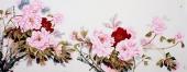 河北美协杨丽凤小六尺写意牡丹画《富贵花开》
