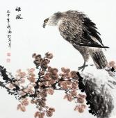 花鸟画家傅鸿写意斗方鹰《雄风》