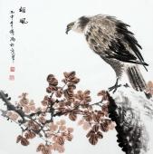 雄鹰图 傅鸿写意斗方国画《雄风》