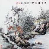 【已售】著名画家欧阳四尺斗方写意山水画《竹韵清风》