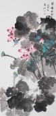 【已售】李春江四尺竖幅写意国画荷花《清韵荷香》