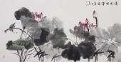 【已售】画家李春江四尺横幅写意荷花《清风映翠》