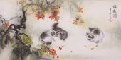 安徽美协云志四尺写意动物画《猫趣图》