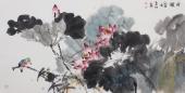 【已售】画家李春江四尺横幅写意花鸟画作品《荷韵》
