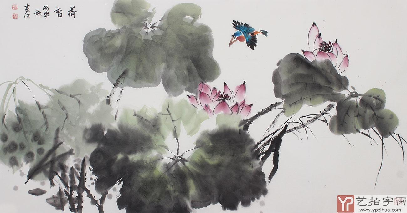 李春江四尺横幅写意国画荷花《荷香》