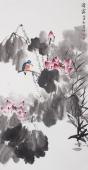 著名画家李春江四尺写意花鸟画《清露》