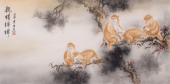 【已售】安徽美协云志四尺横幅动物画《亲情绵绵》