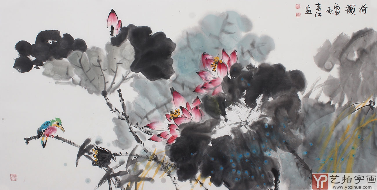 【已售】画家李春江四尺横幅写意花鸟画作品《荷韵》图片
