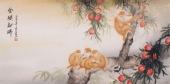 名家字画 云志四尺横幅动物画《金猴献瑞》