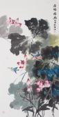 【已售】花鸟名家李春江四尺竖幅国画《荷塘情幽》