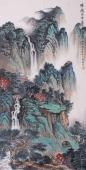【已售】孔国宾四尺竖幅写意青绿山水画《时时闻鸟语处处是泉声》