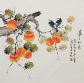 【已售】北京美协凌雪工笔花鸟画作品《事事如意》