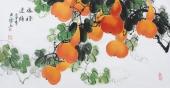 【已售】花鸟画家黄艺三尺横幅葫芦图《福禄连绵》