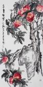 【已售】石云轩四尺竖幅写意花鸟画作品《三千年结实之桃》