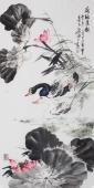 【已售】卧室字画 石云轩小写意花鸟画《荷塘清韵》