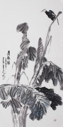 花鸟名家石云轩四尺竖幅水墨画《清趣图》