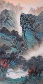 孔国宾四尺竖幅精品写意山水《溪山访道图》