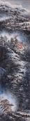 孔国宾长条竖幅精品写意山水画《瑞雪兆丰年》
