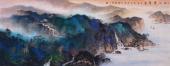 山西美协孔国宾小六尺泼彩精品山水画《秋江叠翠图》