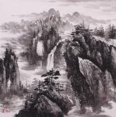 王立全四尺斗方写意山水画《清谷幽泉》