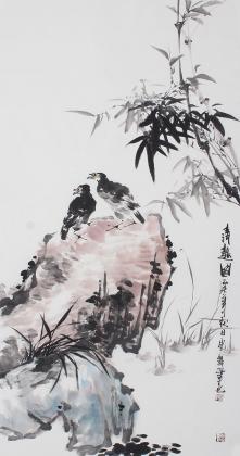 名家字画 石云轩写意花鸟画《清趣图》