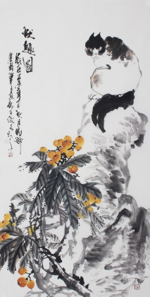 石云轩四尺竖幅写意动物画《秋趣图》