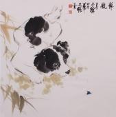 【询价】王文强精品斗方动物画《静观》